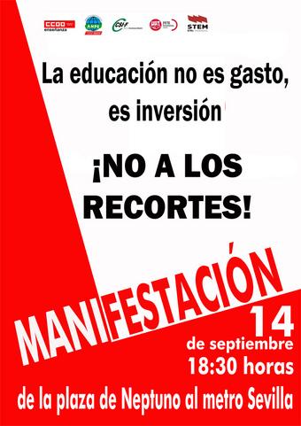 Manifestación 14S - No a los recortes en educación