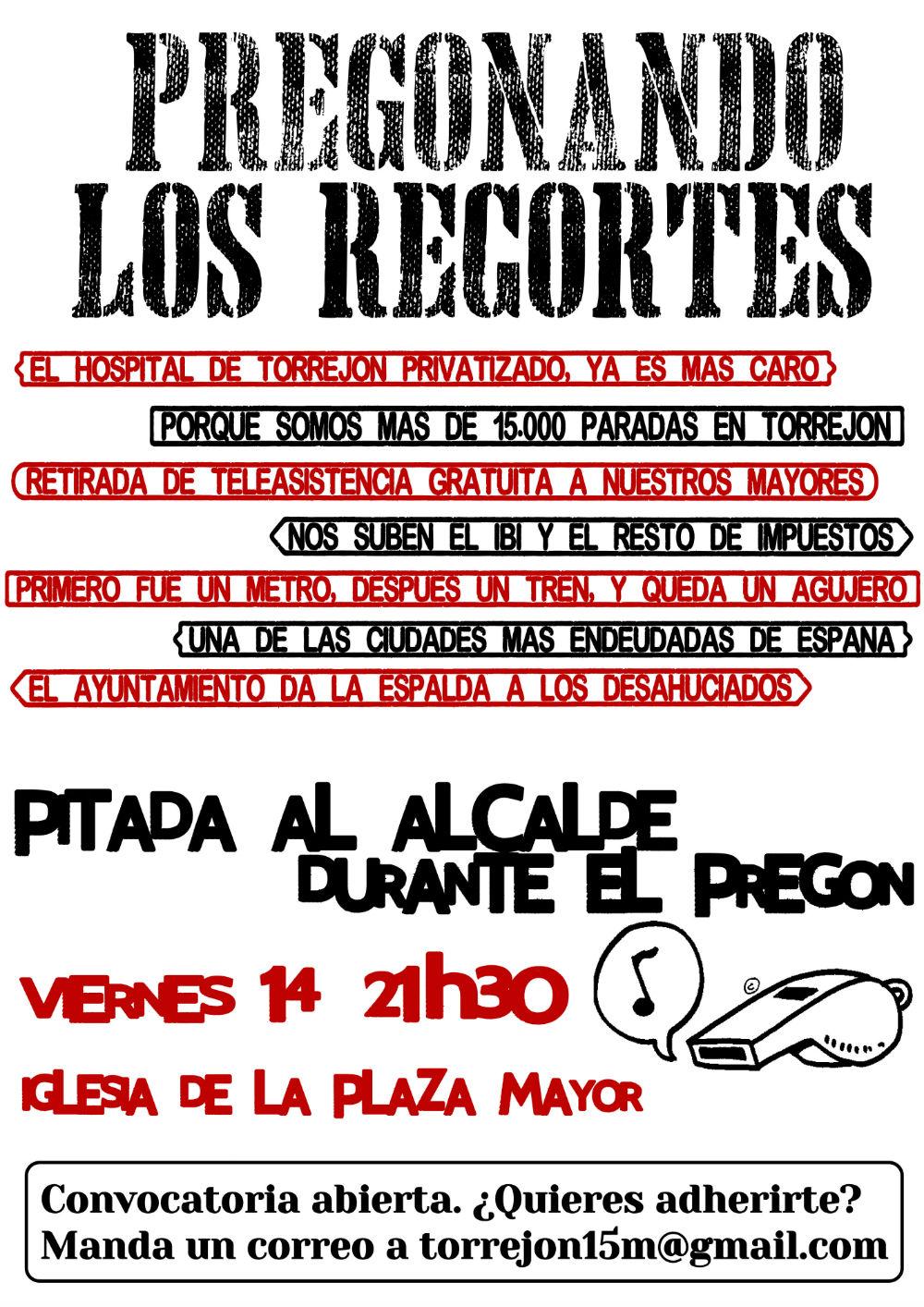 Pregonando los recortes: Pitada al alcalde de Torrejón