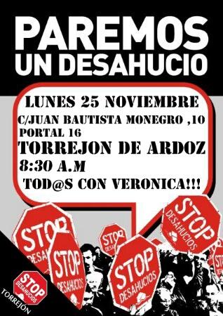 Cartel Stop Desahucio Verónica 25N